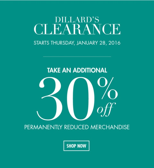dillards 30 off january